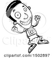 Clipart Of A Black And White Jumping Black Male Track And Field Athlete Royalty Free Vector Illustration
