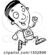 Clipart Of A Black And White Running Black Male Track And Field Athlete Royalty Free Vector Illustration