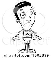 Clipart Of A Black And White Sad Black Male Track And Field Athlete Royalty Free Vector Illustration