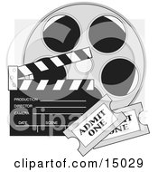 Two Movie Tickets In Front Of A Take Clapperboard And A Reel Of Movie Film Clipart Illustration