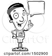 Clipart Of A Black And White Talking Black Male Track And Field Athlete Royalty Free Vector Illustration