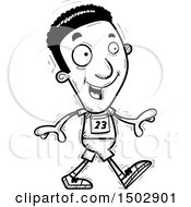 Clipart Of A Black And White Walking Black Male Track And Field Athlete Royalty Free Vector Illustration