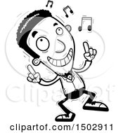 Clipart Of A Black And White Dancing African American Man In A Tuxedo Royalty Free Vector Illustration