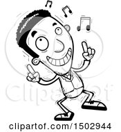 Clipart Of A Black And White Dancing African American Business Man Royalty Free Vector Illustration