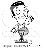 Clipart Of A Black And White Waving African American Male Tennis Player Royalty Free Vector Illustration