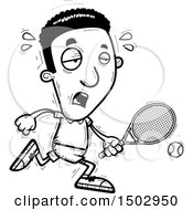 Clipart Of A Black And White Tired African American Male Tennis Player Royalty Free Vector Illustration
