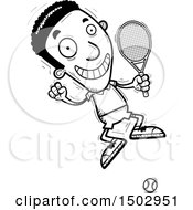 Clipart Of A Black And White Jumping African American Male Tennis Player Royalty Free Vector Illustration