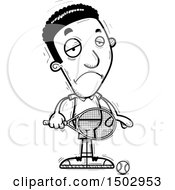 Clipart Of A Black And White Sad African American Male Tennis Player Royalty Free Vector Illustration