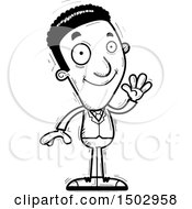 Clipart Of A Black And White Waving African American Business Man Royalty Free Vector Illustration