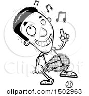 Clipart Of An African American Man Tennis Player Dancing Royalty Free Vector Illustration