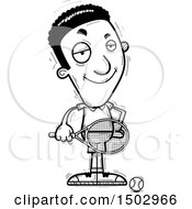 Clipart Of A Black And White Confident African American Male Tennis Player Royalty Free Vector Illustration