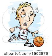 Tired Running White Male Basketball Player
