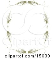 Light Brownish-Green Frame Consisting Of Stars And Scrolls Around A White Background Which Would Be Great For Stationery Sheets Or A Website Border