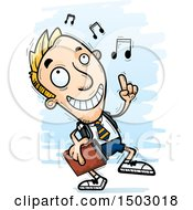 Clipart Of A White Male Private School Student Doing A Happy Dance Royalty Free Vector Illustration