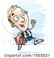 Clipart Of A Running White Male Private School Student Royalty Free Vector Illustration