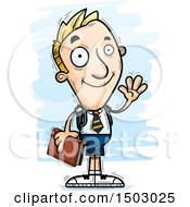 Clipart Of A Waving White Male Private School Student Royalty Free Vector Illustration
