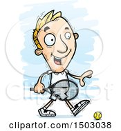 Clipart Of A Walking Caucasian Man Tennis Player Royalty Free Vector Illustration