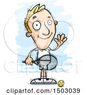 Clipart Of A Waving Caucasian Man Tennis Player Royalty Free Vector Illustration