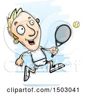 Clipart Of A Running Caucasian Man Tennis Player Royalty Free Vector Illustration