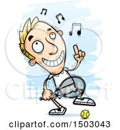 Clipart Of A Dancing Happy Caucasian Man Tennis Player Royalty Free Vector Illustration