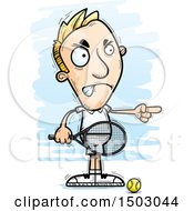 Clipart Of A Mad Pointing Caucasian Man Tennis Player Royalty Free Vector Illustration
