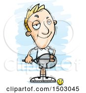 Clipart Of A Confident Caucasian Man Tennis Player Royalty Free Vector Illustration