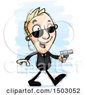 Clipart Of A Walking Caucasian Man Secret Service Agent Royalty Free Vector Illustration