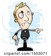 Clipart Of A Mad Pointing Caucasian Man Spy Royalty Free Vector Illustration by Cory Thoman