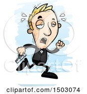 Clipart Of A Tired Running Caucasian Man Spy Royalty Free Vector Illustration by Cory Thoman