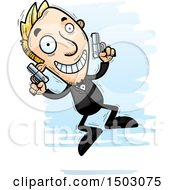 Clipart Of A Jumping Caucasian Man Spy Royalty Free Vector Illustration by Cory Thoman