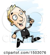 Clipart Of A Running Caucasian Man Spy Royalty Free Vector Illustration by Cory Thoman