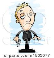 Clipart Of A Sad Caucasian Man Spy Royalty Free Vector Illustration by Cory Thoman