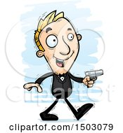 Clipart Of A Walking Caucasian Man Spy Royalty Free Vector Illustration by Cory Thoman