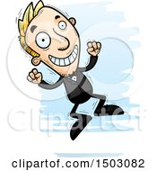 Clipart Of A Jumping Caucasian Man In A Tuxedo Royalty Free Vector Illustration
