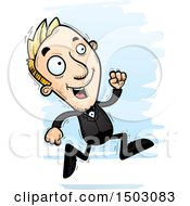 Clipart Of A Running Caucasian Man In A Tuxedo Royalty Free Vector Illustration