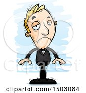 Clipart Of A Sad Caucasian Man In A Tuxedo Royalty Free Vector Illustration