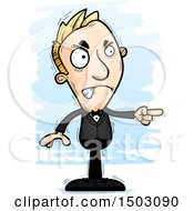Clipart Of A Mad Pointing Caucasian Man In A Tuxedo Royalty Free Vector Illustration