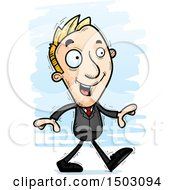 Clipart Of A Walking Caucasian Business Man Royalty Free Vector Illustration