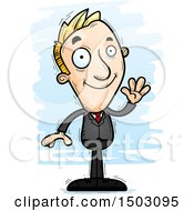 Clipart Of A Waving Caucasian Business Man Royalty Free Vector Illustration