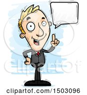 Clipart Of A Talking Caucasian Business Man Royalty Free Vector Illustration