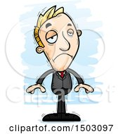 Clipart Of A Sad Caucasian Business Man Royalty Free Vector Illustration