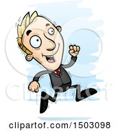 Clipart Of A Running Caucasian Business Man Royalty Free Vector Illustration