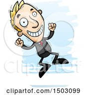 Clipart Of A Jumping Energetic Caucasian Business Man Royalty Free Vector Illustration