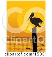 Lone Pelican Bird On A Coastal Fence Post Silhouetted Against An Orange Sunset Clipart Illustration