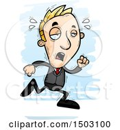 Clipart Of A Tired Running Caucasian Business Man Royalty Free Vector Illustration