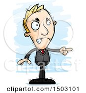 Clipart Of A Mad Pointing Caucasian Business Man Royalty Free Vector Illustration