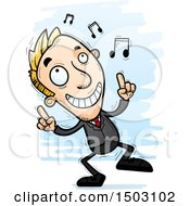 Clipart Of A Dancing Caucasian Business Man Royalty Free Vector Illustration