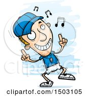 Clipart Of A White Male Basketball Player Doing A Happy Dance Royalty Free Vector Illustration