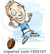 Clipart Of A Jumping White Male Football Player Royalty Free Vector Illustration by Cory Thoman