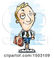 Clipart Of A Confident White Male Private School Student Royalty Free Vector Illustration